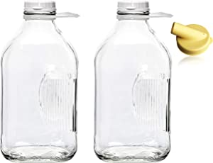The Dairy Shoppe Heavy Glass Milk Bottles 2 Quart (64 Oz) Jugs with Extra Lids & FREE Pour Spout! (2, 64 oz)