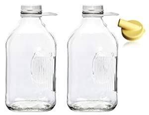 The Dairy Shoppe Heavy Glass Milk Bottles 2 Quart (64 Oz) Jugs with Extra Lids & FREE Pour Spout! (2, 64 oz)