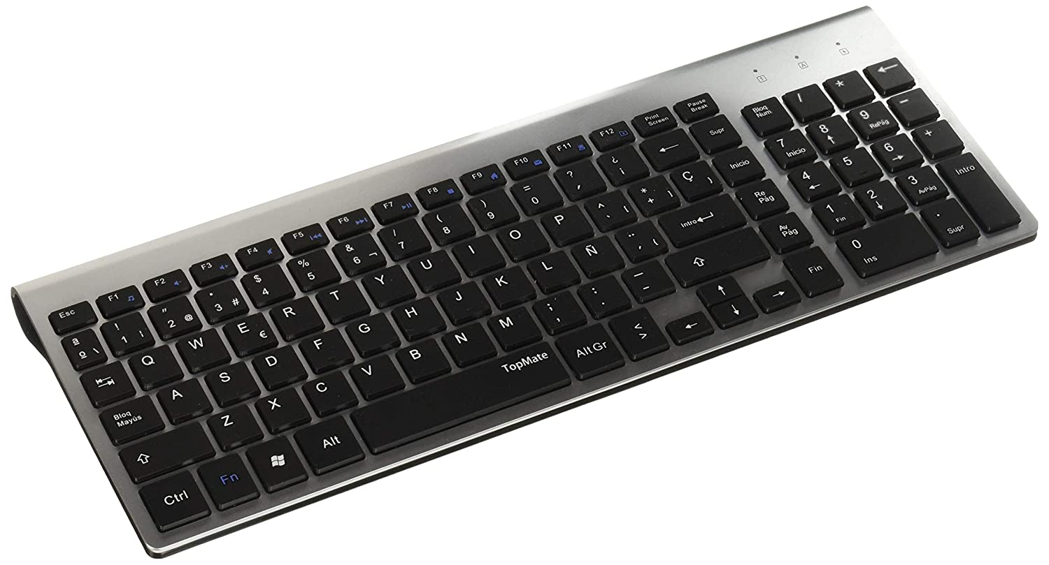 TopMate KM9001 Wireless Keyboard and Mouse Combo| Ultra Slim Portable | Designed for Office and Home |Silver Black