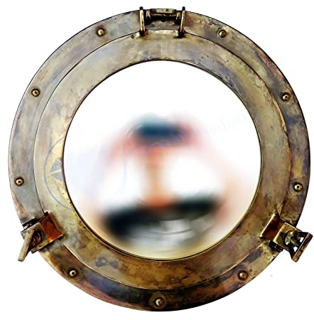 Nagina International Antique Brass Porthole Mirror Maritime Ship s Decor Wall Hanging 17 Inches