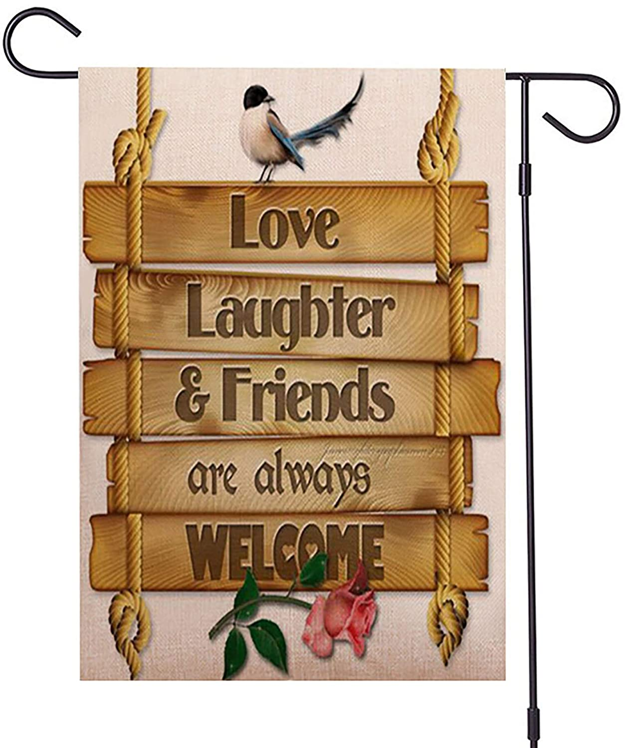 Guaikeai Bird Wooden Sign Welcome Garden Flag 12 x 18 Inch Double Sided Outside Decor for Home Yard Farmhouse