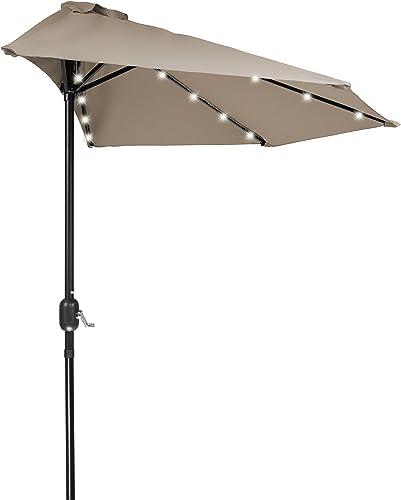 Home Comfort 9' Patio LED Half Umbrella LED