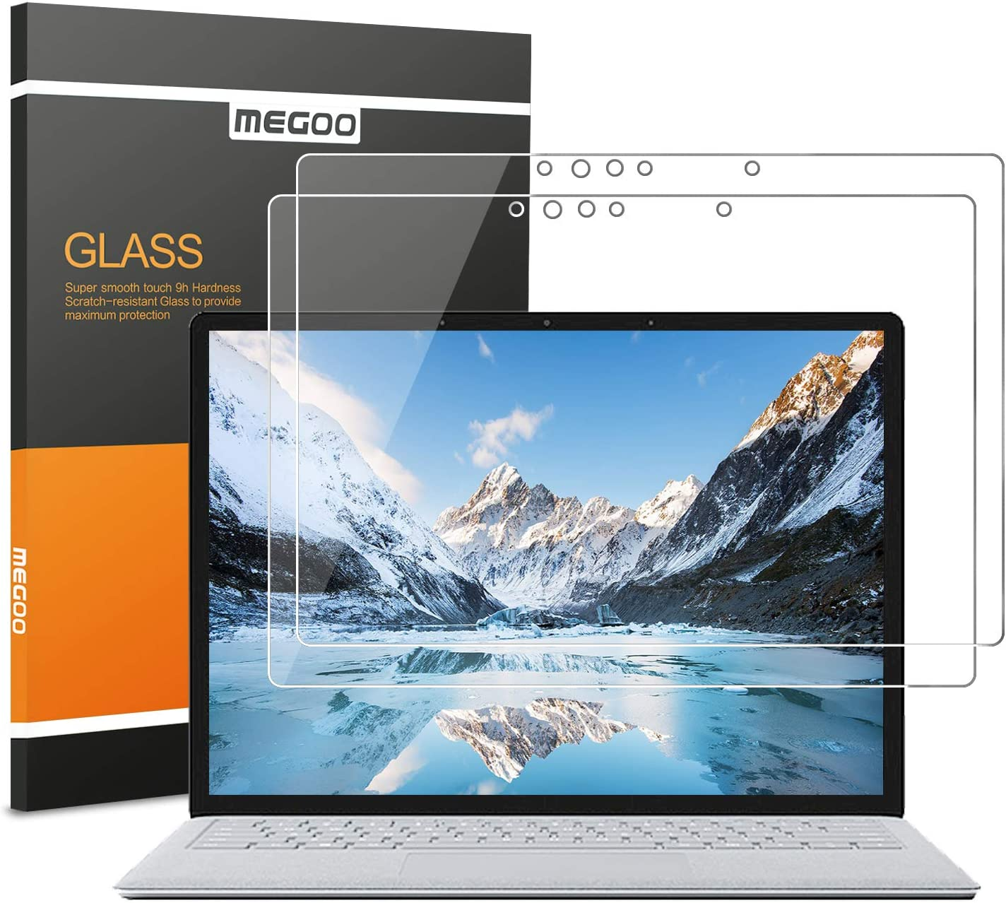 [2 Pack] MEGOO Surface Laptop 3 (13.5 Inch) Screen Protector [Tempered Glass], [Ultra Clear] [Smooth Touching] [Quick Response] Compatible for Microsoft Surface Laptop 2 / Surface Laptop - 13.5 Inch