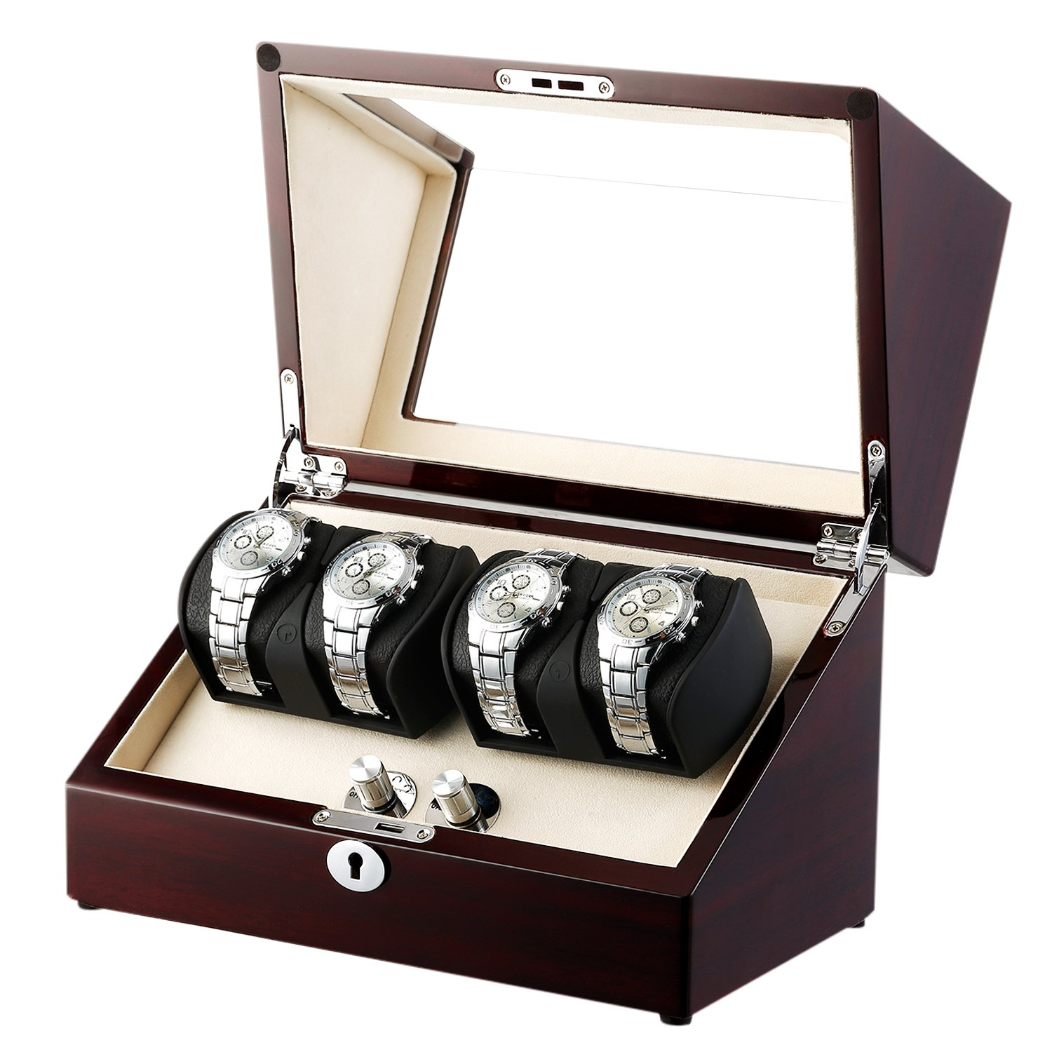 OLYMBROS Wooden Quad Automatic Watch Winder Storage Boxes for 4 Watches with LED Light