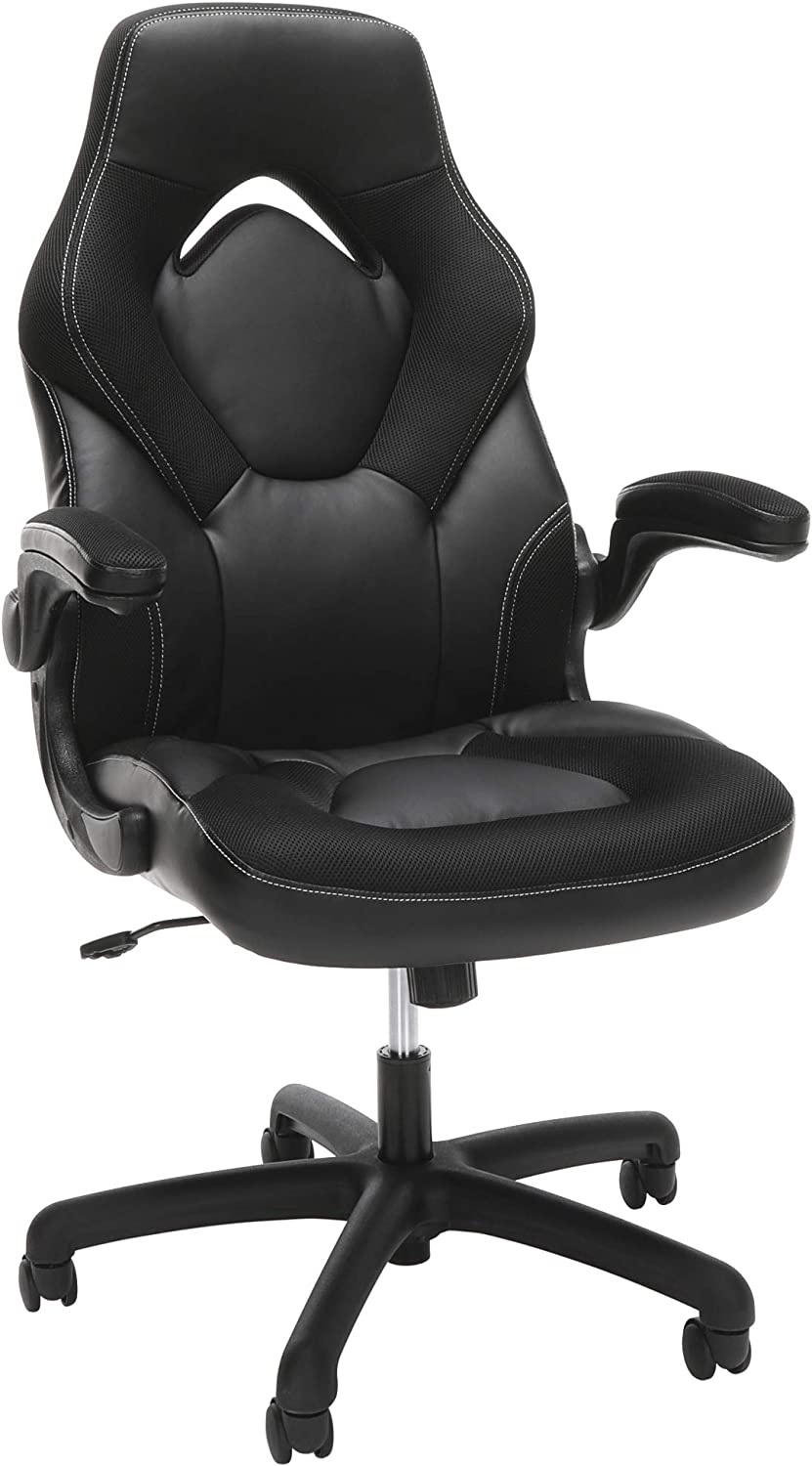 OFM Racing Style Bonded Leather Gaming Chair, in Black (ESS-3085-BLK)