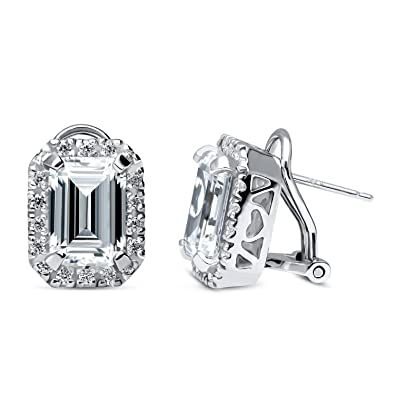 ad7cbed4c Image Unavailable. Image not available for. Color: BERRICLE Rhodium Plated  Sterling Silver Emerald Cut Cubic Zirconia CZ Halo Omega Back Stud Earrings
