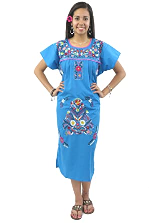c394c683de5 Mexican Dress Puebla Hand Embroidered at Amazon Women s Clothing store