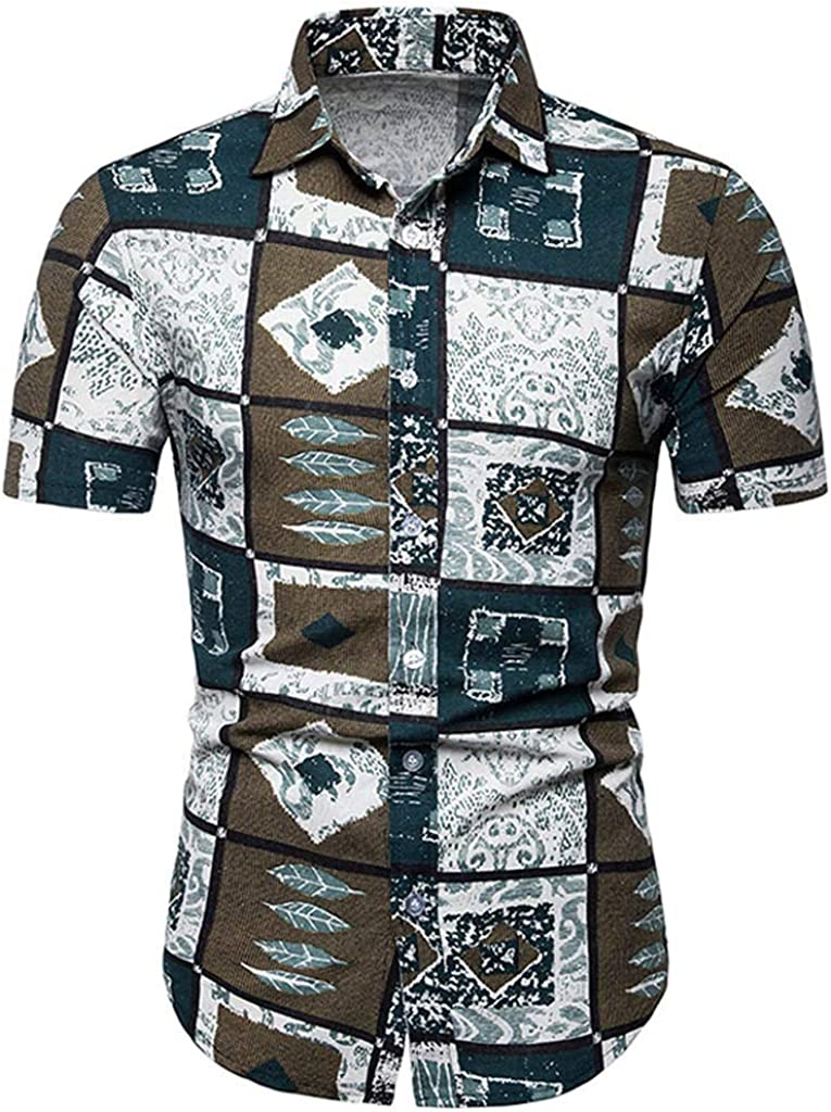 Mens Casual Loose Fit Plaid Printed Short Sleeves Button Down Beach Hawaiian Breathable Shirts Tee