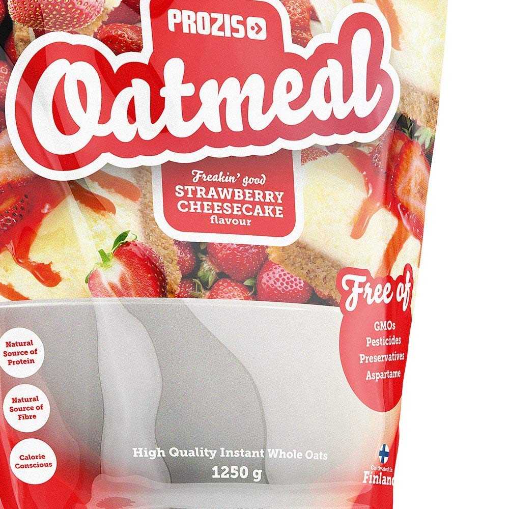 Prozis Oatmeal - Avena Integral, 1250g, Sabor Tarta de queso con Fresas, 12 Dosis