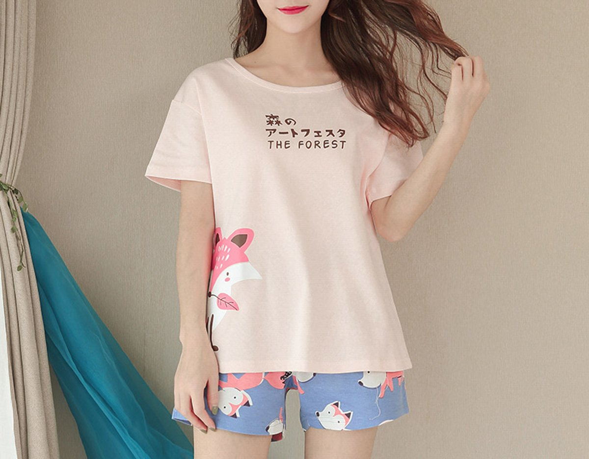 KINYBABY Big Girls Summer Pajama Set Cute Fox Printed Cotton Sleepwear Top&Shorts Pink Fox L by KINYBABY (Image #2)