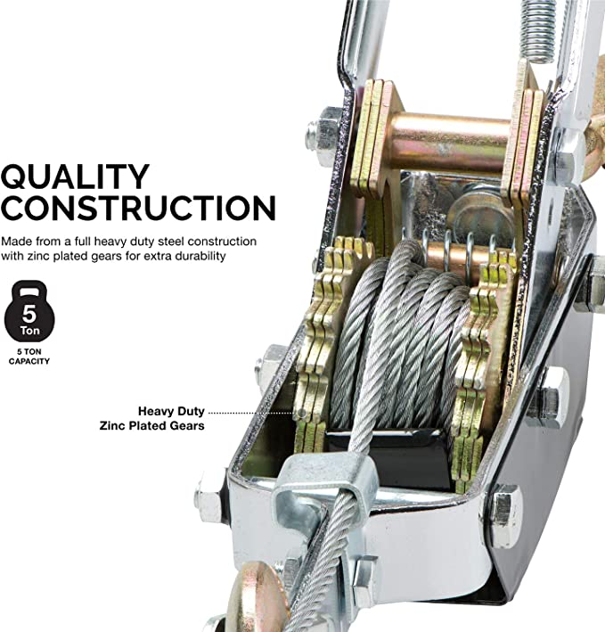 DENESTUS 2 Ton Heavy Duty Hand Puller Come Along Cable Hoist Double Hooks Cable 4400LB Come Along with Heavy Duty Solid Metal Gear Thick Body Frame Durable Kits