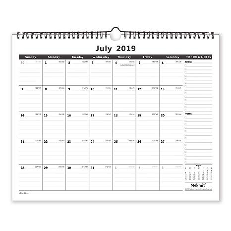 Calendario 2020 16.Nekmit 2019 2020 Monthly Wall Calendar Academic Year 15 X 12 Inches Wirebound Black