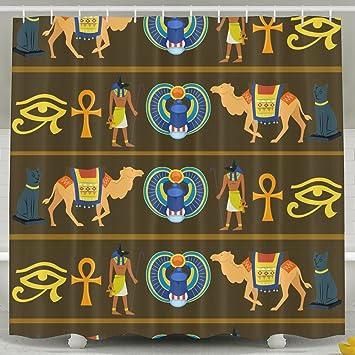 Amazon.com: Shower Curtain Ancient Egypt Fun Bath Curtain With Hooks ...