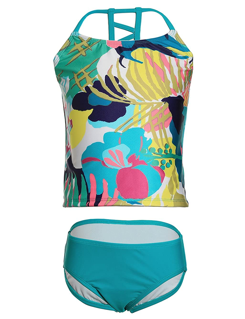 LEINASEN Two Piece Bathing Suits for Girls, Colorful Floral Printing T-Back Beach Tankini Swimsuits for Kids