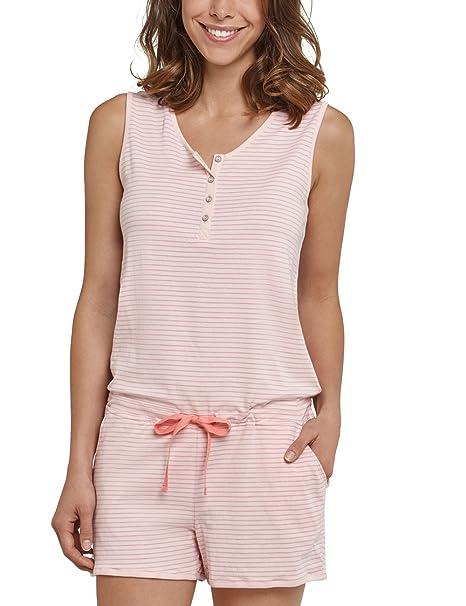Schiesser Jumpsuit Kurz, Pantalones de Pijama para Mujer, Rot (Sorbet 524),