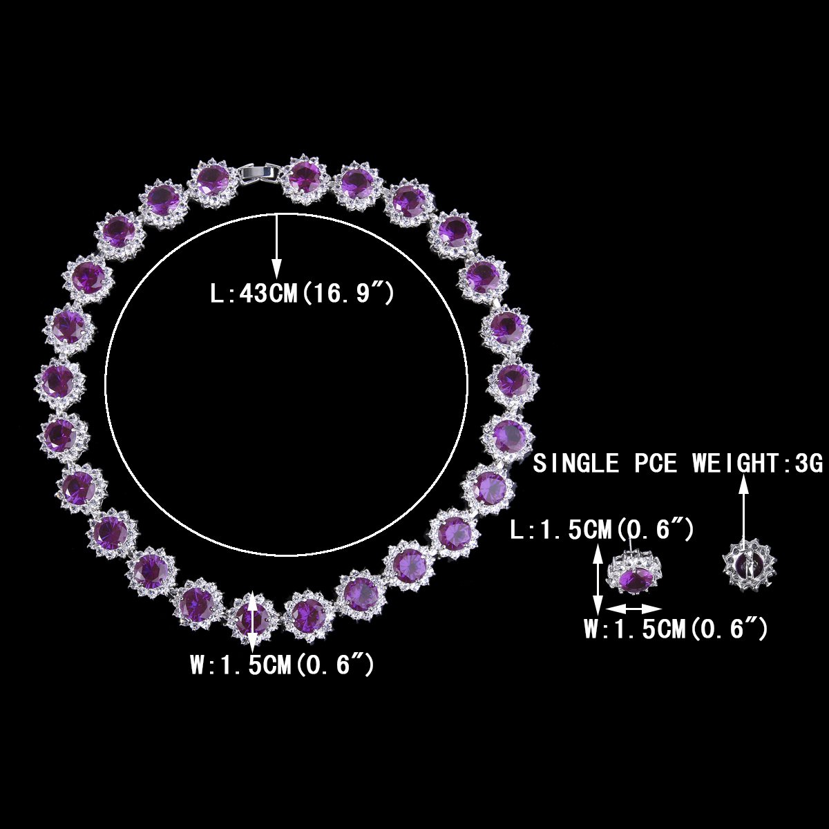 EVER FAITH Crystal Round Cut CZ Elegant Star April Birthstone Necklace Earrings Set Silver-Tone
