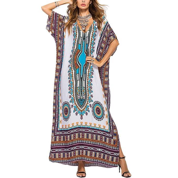 Vestido de Mujer,Lananas Verano Boho sudamericano Estilo Impreso Manga Corta Vestido Playa