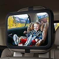OMORC Miroir de Voiture pour Bébé Rétroviseur de Surveillance pour Bébé Rétroviseur Sécurité pour Siège Arrière Rotation 360°& Fonction d'Inclinaison - Noir