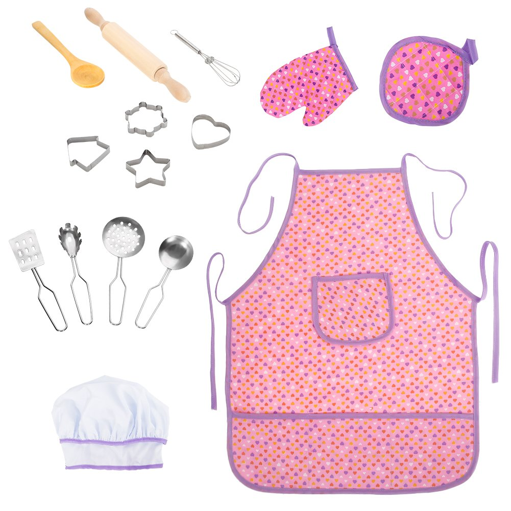 Acekid Chef Set for Kids,Girls Waterproof Apron Set 15 pcs Chef Costume for Children with Chef Hat,Cooking Mitt and Cookie Cutters, Idea for Baking, Painting and Gardening