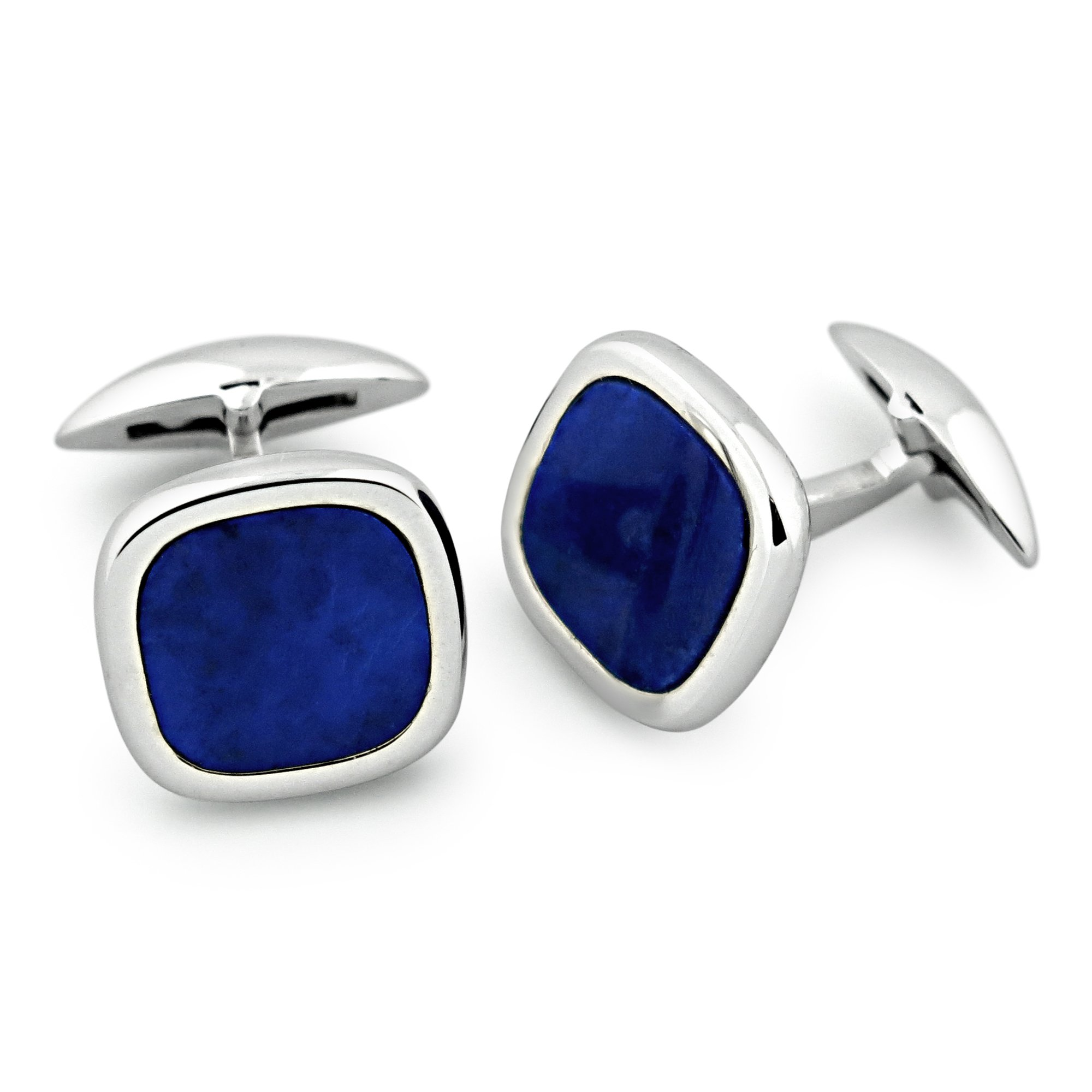 Zsamuel Mens Sterling Silver Lapis Rounded Square Cufflinks by Z.Samuel