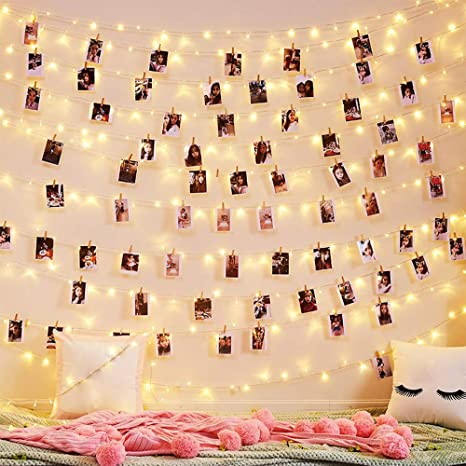100LED with 50 Clip Battery Powered Copper Wire Starry String Fairy Light Christmas Tree Bedroom Decor 100 LED Fairy String Lights with 50 Clear Clips for Hanging Pictures Photo Clip String Lights