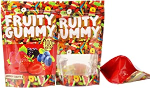 PQ - 50 Smell Proof Mylar Bags - 4x6 inch Resealable Ziplock Stand-up Foil Bags Food Safe Aluminum Material - by PQ (Fruity Gummy 2.0)