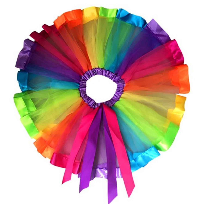 LUQUAN Girls Tutu Skirt Dress Multicolor Rainbow Pettiskirt Bowknot Dancewear 1-3 Years