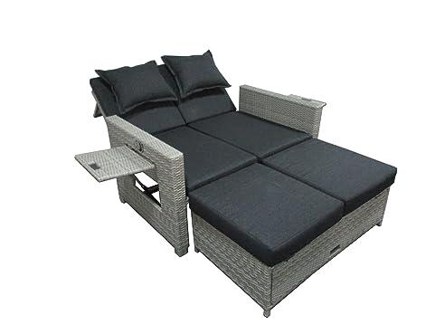 Amazon.de: Matodi Roma Poly Rattan Lounge Sofa inklusive Kissen ...