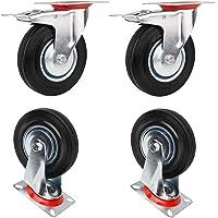 Miafamily Transportwielen, zware zwenkwielen, meubelwielen, 75 mm, massief rubber, 2 zwenkwielen en 2 zwenkwielen met…