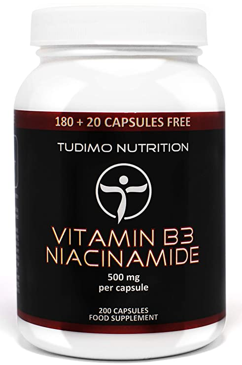 ★ Vitamina B3 ★ 500 mg de Nicotinamida ★ Flush Free ★ 200 pzas (6+ Meses de Provisión) de Cápsulas de Desintegración Rápida, cada una con 500 mg de ...