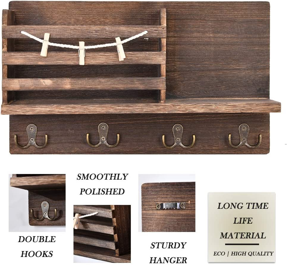 Dark Brown Office Mudroom,Hallway Ekotech Wall Mounted Mail Holder with 4 Key Hooks Holder for Wall and 3 Memo Clips,Rustic Wall Wooden Mail Sorter Organizer for Entry Room Kitchen