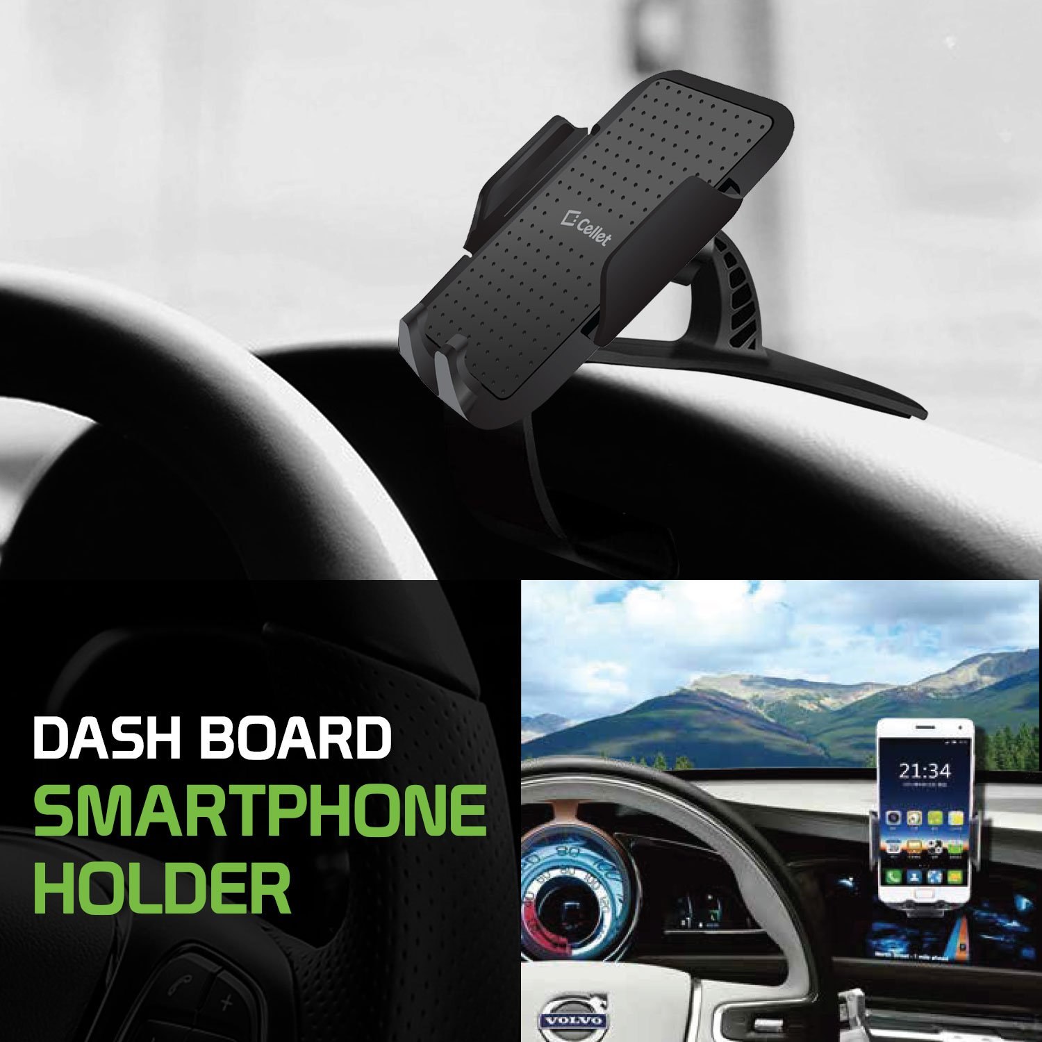 0290aa565de04c Amazon.com: Cellet Dash Board Clip Phone Mount Smartphone Holder Universal  Cradle, 360 Degree Rotation Compatible to iPhone Xs MAX XR X 8 8Plus  Samsung Note ...