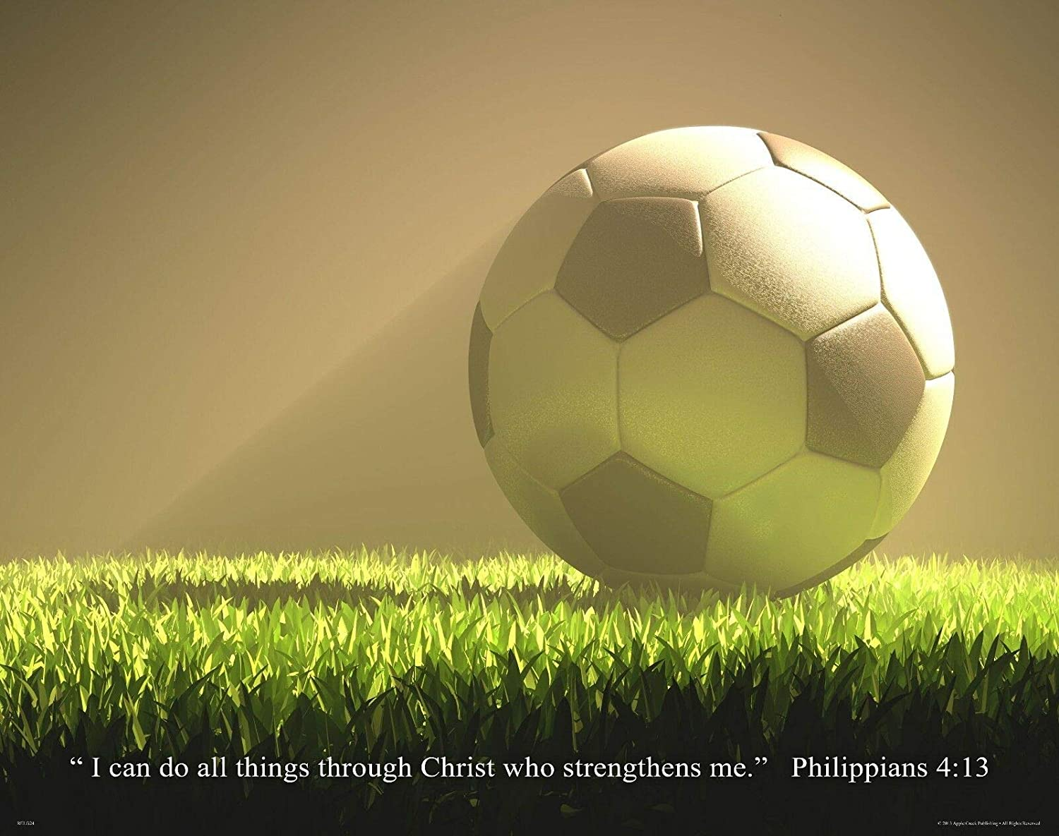 Apple Creek Religious Inspirtational Motivational Poster Art Print 11x14 Soccer Philippians 4:13 Wall Decor Pictures