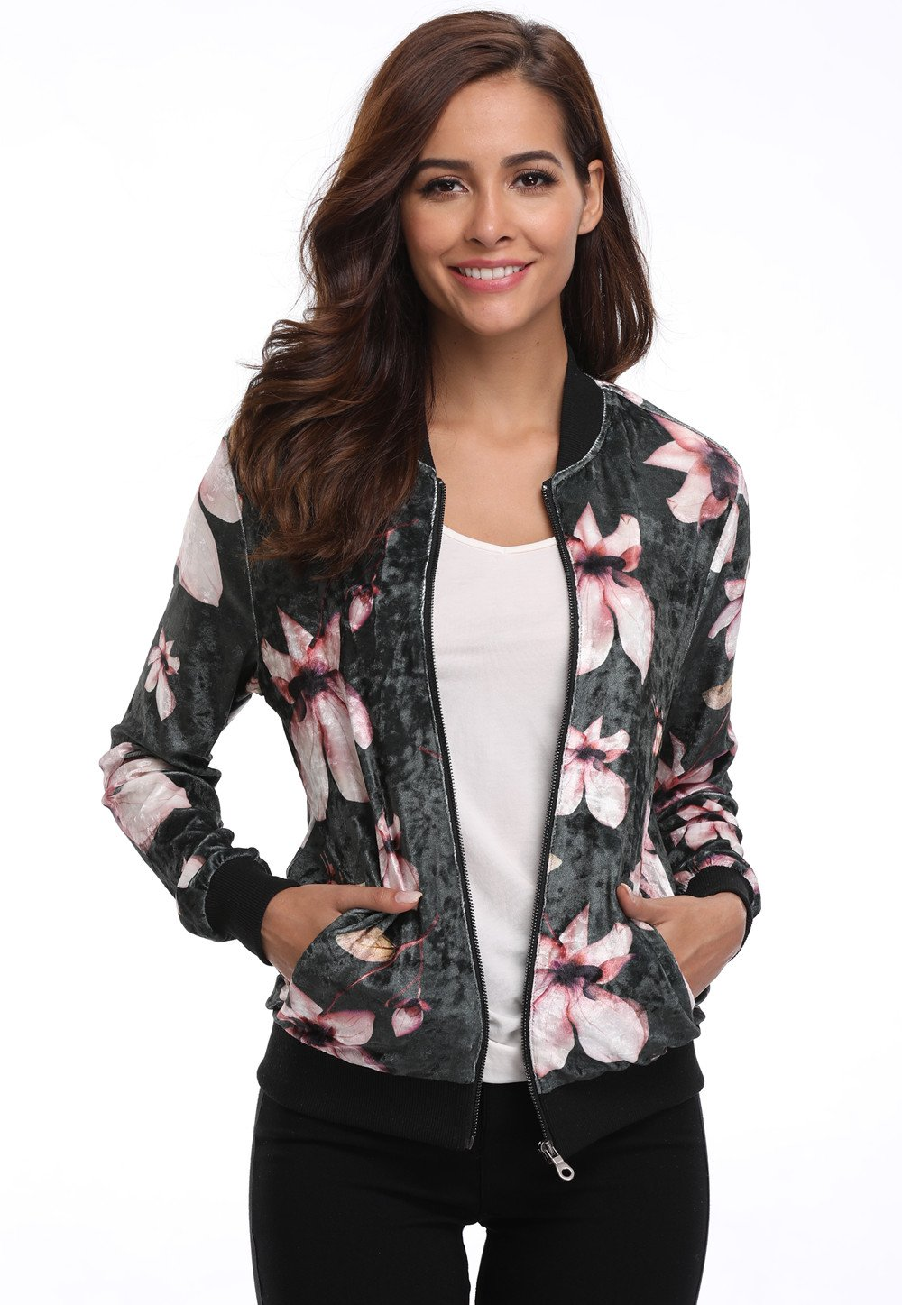 MISS MOLY Women's Floral Printed Stand Collar Zip Fly Bomber Jacket