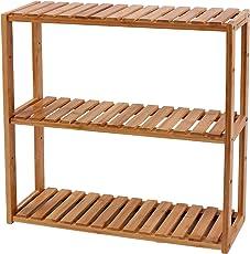 SONGMICS 3-Tier Small Utility Storage Shelf Rack,Bamboo Adjustable layer Bathroom Towel Shelf Multifunctional Kitchen Living Room Holder Wall Mounted
