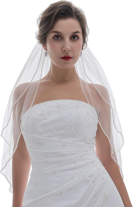 SAMKY 2T 2 Tier Rhinestones Crystal Edge Bridal Wedding Veil