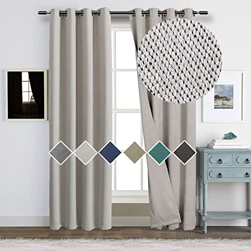 Double Sided Linen Textured Look Curtains and Drapes 100 Blackout Room Darkening Light Block Thermal Insulated Drapery
