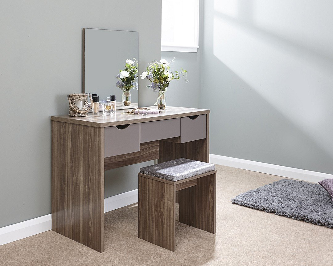 GFW Elizabeth Contemporary Dressing Table Set (Oak & White)