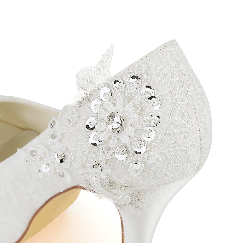 Emily Bridal Zapatos Nupciales Zapatos de Boda de Encaje Zapatos de Novia  de Tacón Alto Peep Toe de Encaje de Marfil  Amazon.es  Zapatos y  complementos 0b12cac7bc4
