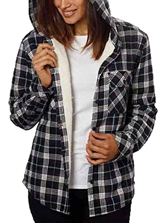 34ca39963056 Boston Trader Womens Cotton Plaid Flannel Sherpa Lined Hooded Button down  Shirt Black White XL