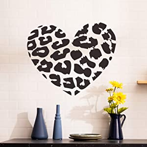 Leopard Heart Wall Decals for Living Room Girl Bedroom Wall Decoration Decal Home Decor Stickers for Girls Boys Window Glass Vinyl Tile Sticker Art Removable Waterproof