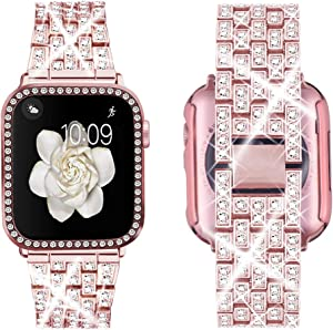 Supoix Compatible with Apple Watch Band 38mm 40mm 42mm 44mm + Case, Women Jewelry Bling Diamond Replacement Metal Strap & Soft PC Bumper Protective Case for iWatch Series 5/4/3/2/1(Pink)