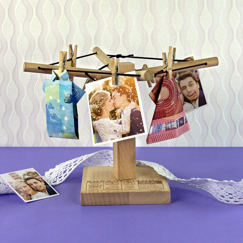 Eheanleitung 20 cm x 12 cm Kreative Geld-Geschenke Casa Vivente Personalisiert mit Namen und Hochzeitstag W/äsche-Spinne aus Holz mit lustiger Gravur Geschenkidee zur Hochzeit