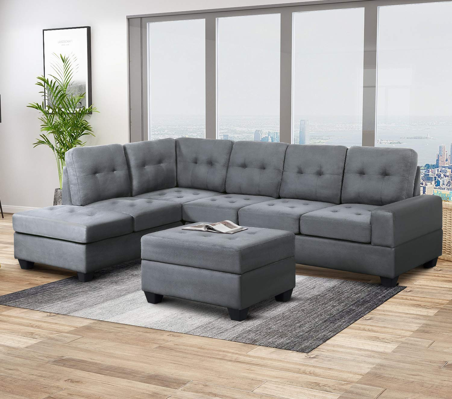 Harper & Bright Designs Sectional Sofa Couch Living Room Sofa Sets 3-Piece Microfiber with Chaise Lounge Storage Ottoman and Cup Holders (Grey) by Harper & Bright Designs