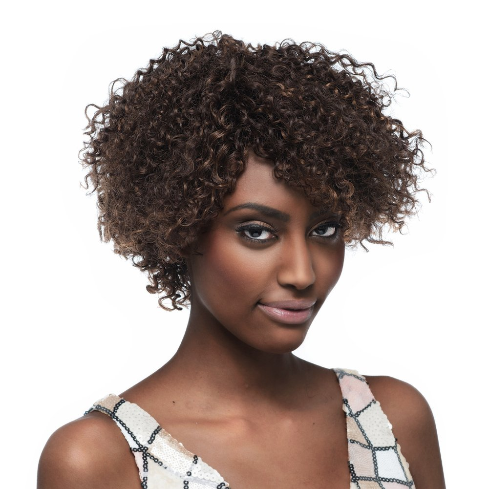 Sleek Mixed Color Short Curly Wigs For Black Women Human