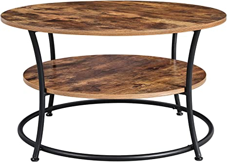 Amazon Com Vasagle Daintree Round Coffee Table Cocktail Table With Storage Shelf Easy Assembly Metal Frame Industrial Design Rustic Brown Ulct80bx Home Kitchen