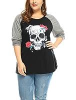 Agnes Orinda Women's Plus Size Floral Skull Contrast Color Raglan T-Shirt
