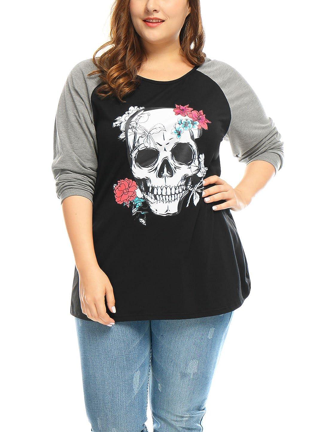 Sourcingmap Womens Contrast Color Raglan Sleeve Floral Skull Print Halloween Plus Size Top