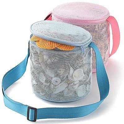 "Tenrai Seashell Mesh Tote, Shell Bag, Beach Toy Bag, Toy Bags, Kids Sandboxes, Nets Bag (7"" Blue & Pink, 2 Packs): Toys & Games"
