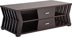"""Furniture of America Canter Modern 2-Drawers Rectangular Coffee Table with 4 Open Shelves, Slatted Panel Design, 47"""", Espresso"""